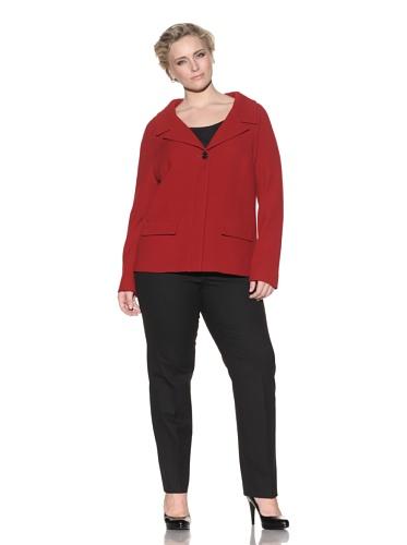 Z from Zenobia Women's Plus Single-Button A-Line Jacket (Crimson)