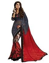 Inddus Women Red & Grey Georgette Printed saree