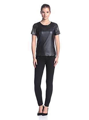 Calvin Klein Women's Perforated Faux Leather Top (Black)