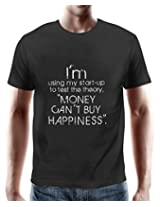 PosterGuy Money Cant Buy Happiness Black Cotton Quote T-Shirt for Men By NASSCOM 10000 Startups -(PGT10MoneyBS)