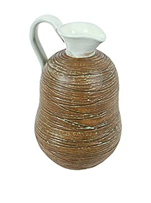 Hoganas Ceramic Water Pitcher, Brown/Cream