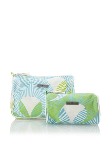 Julie Brown Set of 2 Cosmetic Bags (Green Fans)