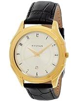 Titan Classique Analog Champagne Dial Men's Watch - NE1558YL02