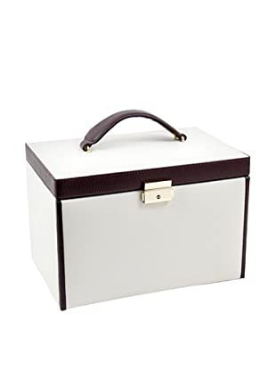Bey-Berk 4-Level Leather Jewelry Box, Ivory/Brown