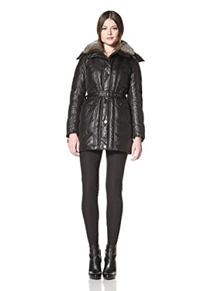 Vince Camuto Women's Down Coat with Fur Collar (Black)