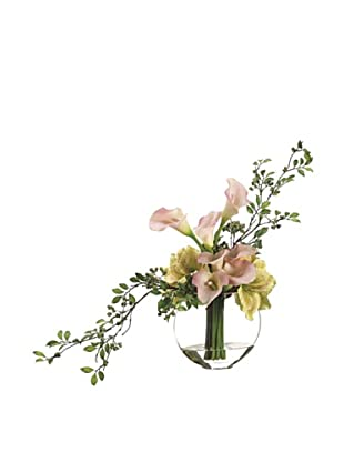 Allstate Floral Calla Lily, Amaryllis & Berry in Glass Vase, Pink Green