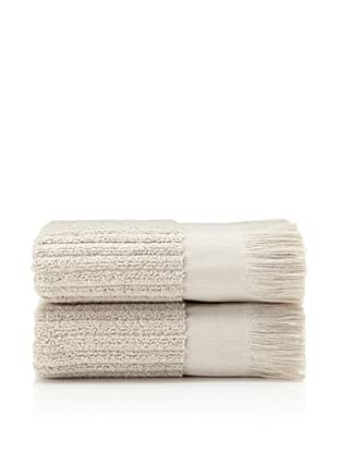 Pure Fiber Set of 2 Ribbed Hand Towels (Oatmeal)