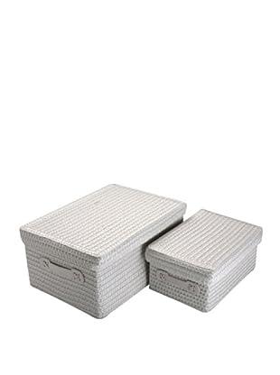 Zings Set De 2 Cajas Rectangulares Blancas