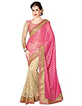 Aesha Half Half Embroidered Saree with unstiched blouse piece