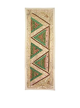 Uptown Down One-of-a-Kind Floor Runner of Vintage Tribal Collars, Beige/Green/Pink