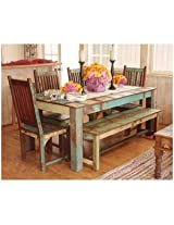 Induscraft 6 Pc Recycled Wooden Dining Table Set With Bench