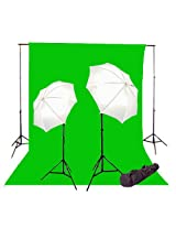 CowboyStudio 400 Watt Photo Studio Continuous Lighting Kit, 6 X 9 Feet Green Muslin Backdrop with Background Support System and Carry Case
