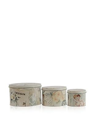 Set Of 3 Decorative Tins (Multi)