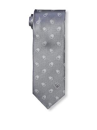 Versace Men's Dotted Tie, Silver