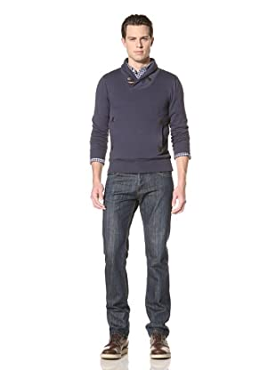Premium Lounge Men's Shawl Collar Pullover with Toggle (Navy)