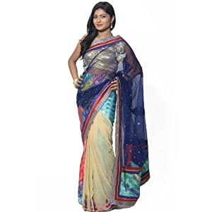 Multicolor Net and Faux Crepe Jacquard Lehenga Style Saree with Readymade Blouse