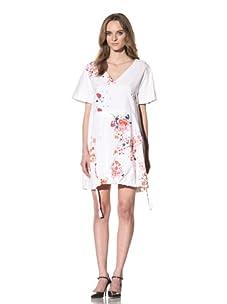 Chloé Women's V-Neck Dress with Paint Splash Detail (White)
