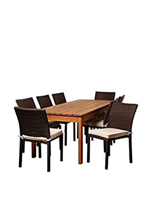 Amazonia Dakota 9-Piece Eucalyptus Wicker Rectangular Dining Set with Off-White Cushions, Brown