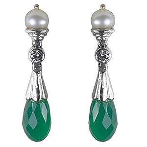 Jewel Paradise Pearl Dangle & Drop Earring For Women (Green)