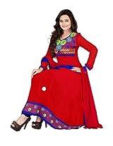 Vardhamn Women's SAKH1 Red Georgette Unstitched salwar suit dress material
