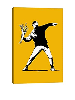 Banksy Flower Chucker Gallery Wrapped Canvas Print