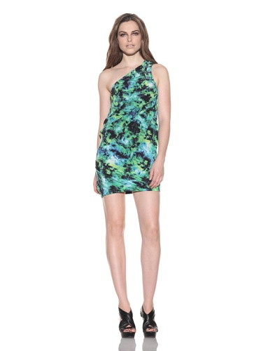 under.ligne by Doo.Ri Women's Printed One-Shoulder Dress (Lime Wash)