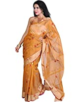 Exotic India Nugget-Colored Handloom Chanderi Saree With Woven Paan and - Brown