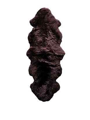 Natural Brand New Zealand Double Sheepskin Rug, Chocolate, 2' x 6'