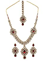 Scrunchh Royal Maroon and White Kundan Set