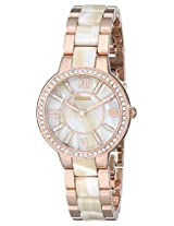Fossil Womens ES3716 Virginia Three-Hand Stainless Steel Watch - Rose with Horn Acetate