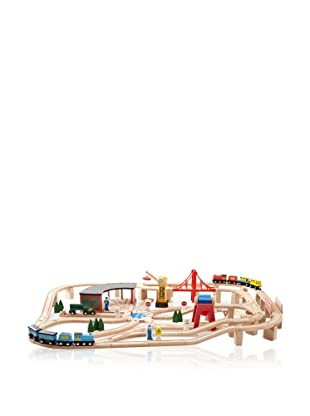 Melissa & Doug Deluxe Wooden Railway Set