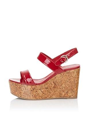 "Sergio Rossi Women's 4"" Patent Cork Sandal (Red)"