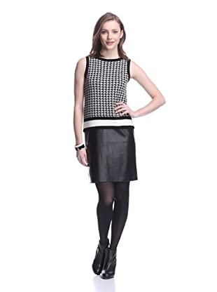 Katherine Barclay Women's Houndstooth Knit Dress (Winter White/Black)