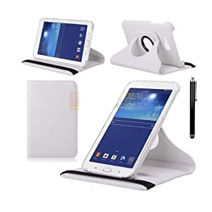 "Elite Flip Case Book Cover 360 Degree Samsung Galaxy Tab 3 Neo T111 T110 7"" Tablet (White) + Stylus"