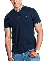 NAVY-BLUE STAND COLLAR T-SHIRT