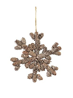 Napa Home & Garden Woodland Pinecone Snowflake Ornament, Frost