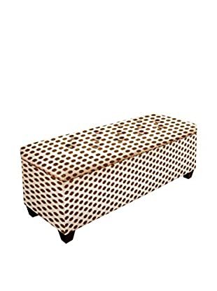 MJL Furniture Sole Secret Small Upholstered Shoe Storage Bench, Brown/White