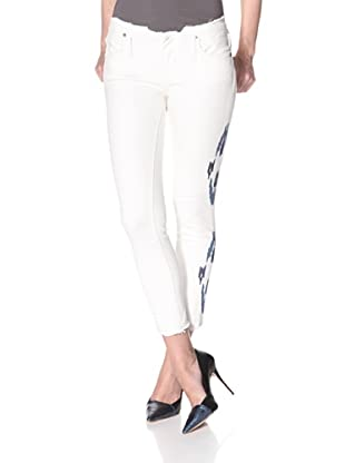 Driftwood Women's Embroidered Skinny Jean (White/Blue)