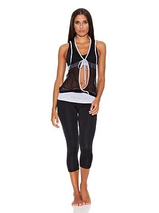 Adriana Arango Conjunto de Top, Camiseta  y Legging Capri (Negro)