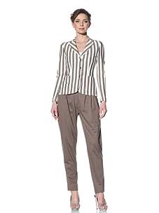 Moschino Cheap and Chic Women's Striped Blazer (Taupe/White Stripe)