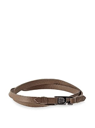 Griffin Mushroom Gunmetal Harrison Leather Double Wrap Bracelet