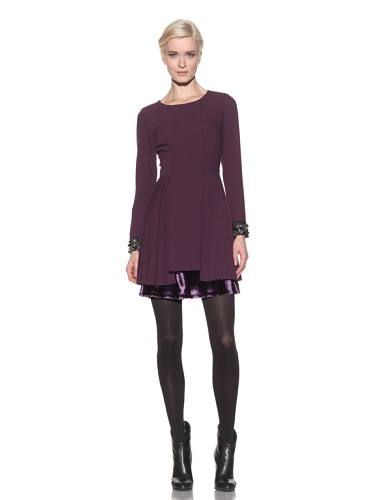 Timo Weiland Women's Knife Pleat Dress with Faux Fur Bottom and Embroidered Sleeves (eggplant)