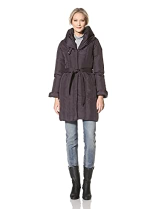 CoffeeShop Women's Belted Down Coat (Dark Plum)
