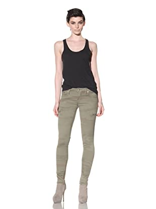 Workcustom Women's Zip Skinny Jeans (Olive Swirl)