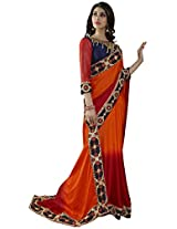 Manvaa orange and red saree -NRT1808