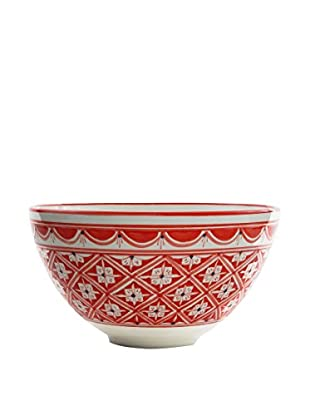 Le Souk Ceramique Nejma Deep Salad Bowl, Red/White