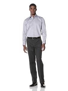 Valentino Men's Dress Shirt (Dark Blue/Light Blue Stripe)