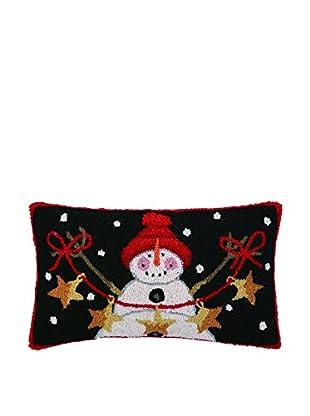 Peking Handicraft Snowman with Stars Lumbar Pillow, Black/Red