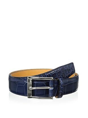 Leone Braconi Men's Crocodrillo Stampato Embossed Belt (Blue)