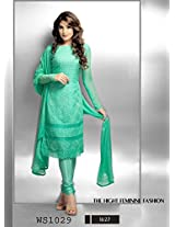Craftliva Latest Embroidered Designer Aqua Green Anarkali Suits